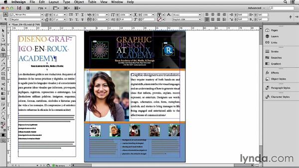 Setting up one language per layer: Adapting an English Layout into Spanish with InDesign