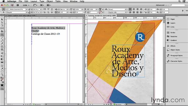 Completing the cover and master pages: Adapting an English Layout into Spanish with InDesign