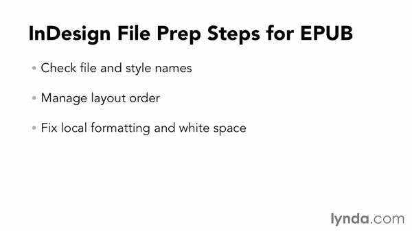 Learning the basic prep steps for most InDesign files: InDesign CC: EPUB Fundamentals