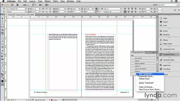 Creating chapter breaks: InDesign CC: EPUB Fundamentals