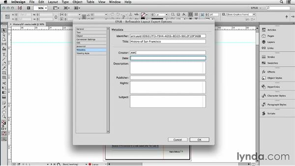 Adding metadata to the InDesign file or book: InDesign CC: EPUB Fundamentals