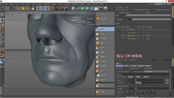 Enhancing wrinkles and folds in the third pass: Sculpting  and Painting a Head in CINEMA 4D