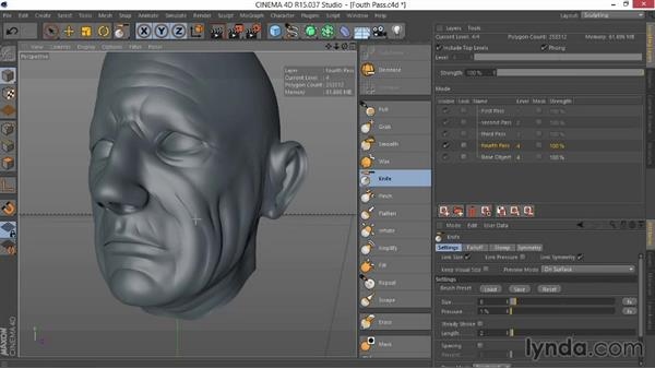 Focusing on the forehead in the fourth pass: Sculpting  and Painting a Head in CINEMA 4D