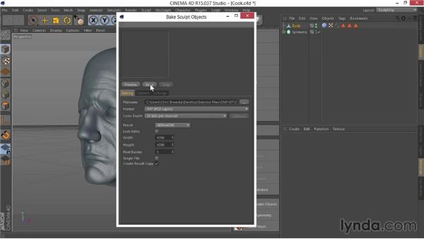 Cooking the final maps: Sculpting  and Painting a Head in CINEMA 4D