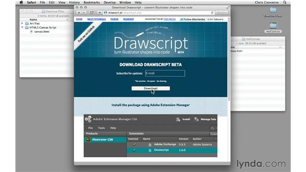 Downloading and installing the Drawscript extension: Design the Web: From Illustrator to HTML5 Canvas