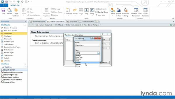 Creating workflow variables: SharePoint Designer 2013: Custom Workflows