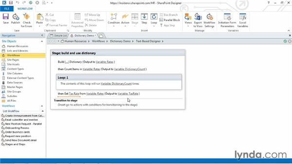 Getting an item from a dictionary: SharePoint Designer 2013: Custom Workflows