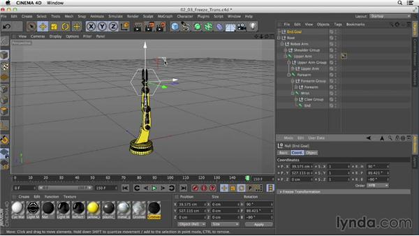 Freezing and resetting transformation values: Mograph Techniques: Rigging a Robot Arm in CINEMA 4D
