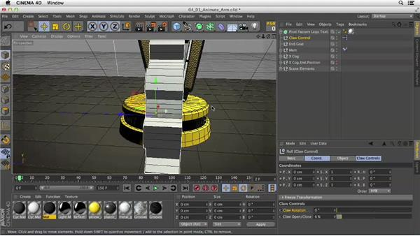 Setting up the rig for animation: Mograph Techniques: Rigging a Robot Arm in CINEMA 4D