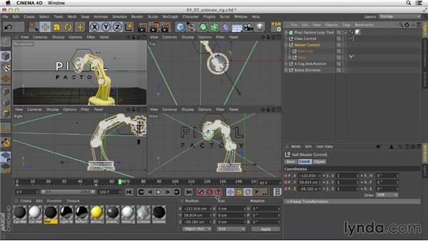 Animating the arm movement using keyframes: Mograph Techniques: Rigging a Robot Arm in CINEMA 4D