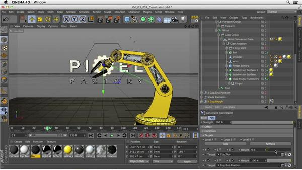 Using position, scale, and rotation constraints to place a logo element: Mograph Techniques: Rigging a Robot Arm in CINEMA 4D