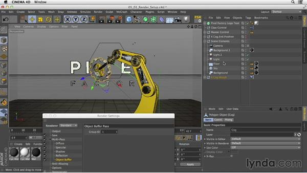 Setting up to render by adding Compositing tags and multipasses: Mograph Techniques: Rigging a Robot Arm in CINEMA 4D