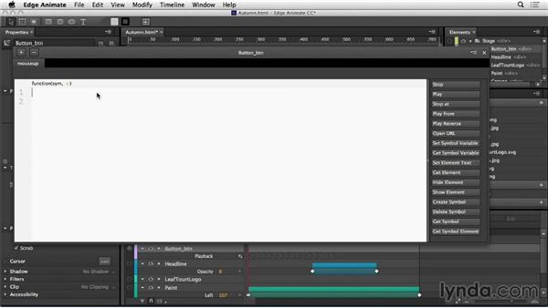 Add interactivity in Edge Animate: Web Motion for Beginners: Create an Animated Banner Ad