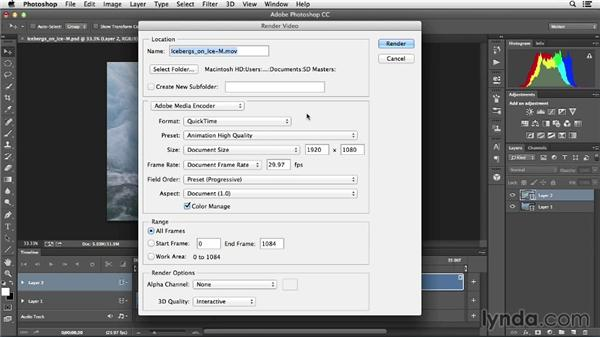 Exporting finished clips: Creative Video Compositing with Photoshop