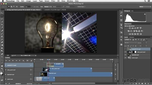 Combining multiple clips in one shot using layer masks: Creative Video Compositing with Photoshop