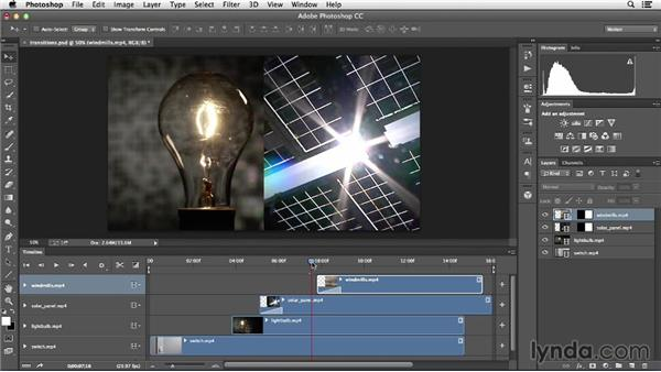 Applying transitional effects: Creative Video Compositing with Photoshop