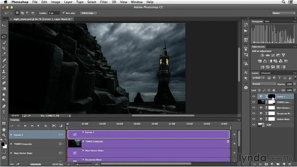 Creating lighting effects with adjustment layers: Creative Video Compositing with Photoshop