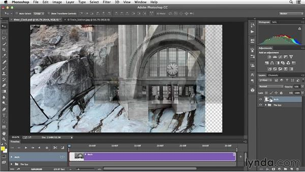 Layering multiple elements to begin the composition: Creative Video Compositing with Photoshop
