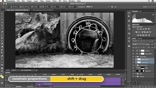 Finalizing the project with animated clock hands: Creative Video Compositing with Photoshop