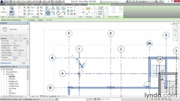 Importing an AutoCAD file as reference for drawing walls: Revit for Interior Design: Interior Walls