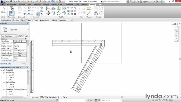 Modifying a wall join: Revit for Interior Design: Interior Walls