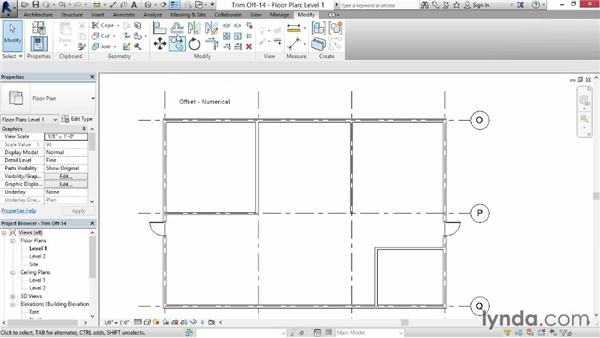 Trimming, extending, and offsetting walls: Revit for Interior Design: Interior Walls