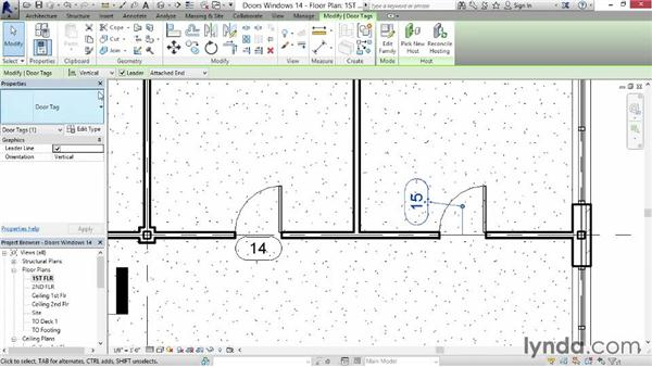 Adding tags to doors and windows: Revit for Interior Design: Interior Walls