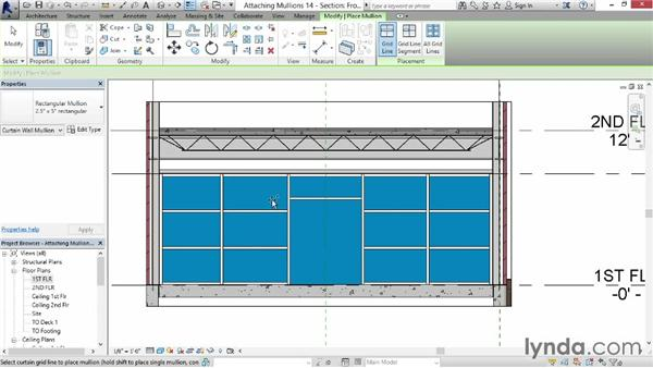 Attaching mullions to curtain grids: Revit for Interior Design: Interior Walls