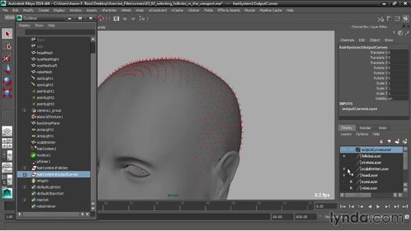 Selecting follicles in the viewport: Creating Hair with Maya nHair