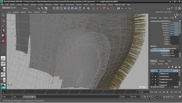Moving follicles in UV space: Creating Hair with Maya nHair