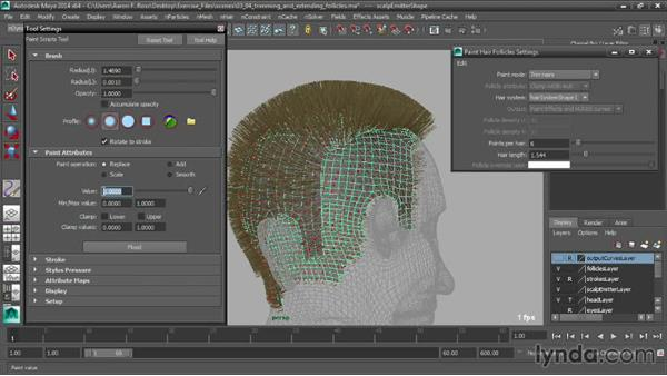Trimming and extending follicles: Creating Hair with Maya nHair