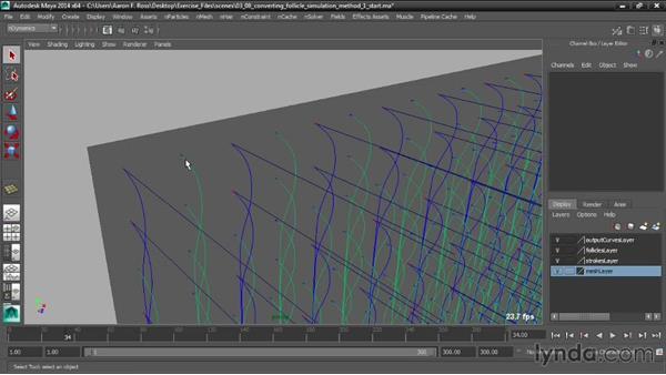 Converting the follicle simulation method: Creating Hair with Maya nHair