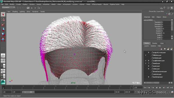 Modifying curves: Creating Hair with Maya nHair