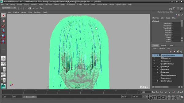 Locking curve length: Creating Hair with Maya nHair