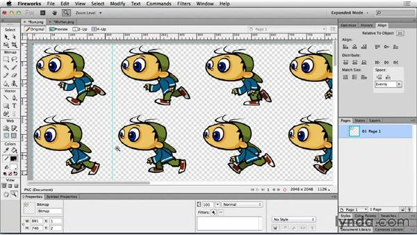 Sprite sheet editing in Fireworks: Web Motion for Beginners: Animate a CSS Sprite Sheet
