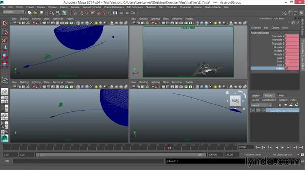Animating the asteroid: VFX Techniques: Space Scene 01: Maya Animation and Dynamic Simulation
