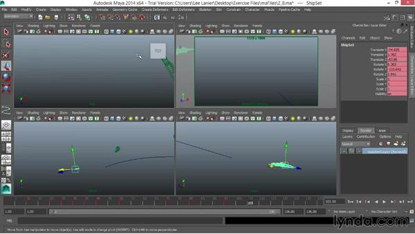 Finalizing the ship and camera animation: VFX Techniques: Space Scene 01: Maya Animation and Dynamic Simulation