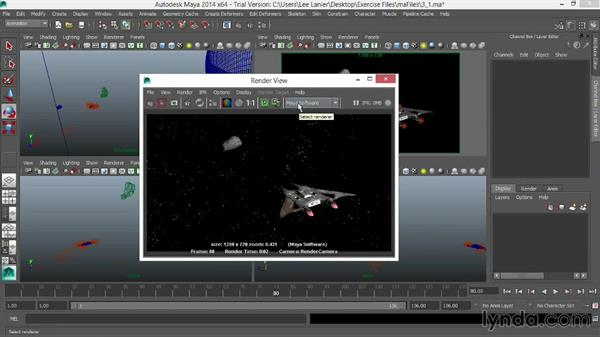 Setting the key light: VFX Techniques: Space Scene 01: Maya Animation and Dynamic Simulation