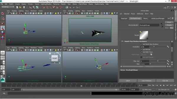 Setting up a shadow layer: VFX Techniques: Space Scene 01: Maya Animation and Dynamic Simulation