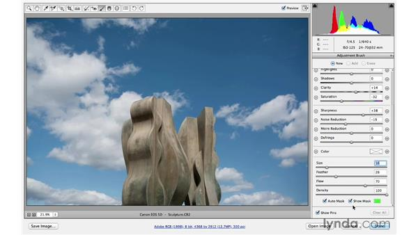 Reviewing Adjustment Brush techniques and shortcuts: Photoshop CC for Photographers: Sharpening