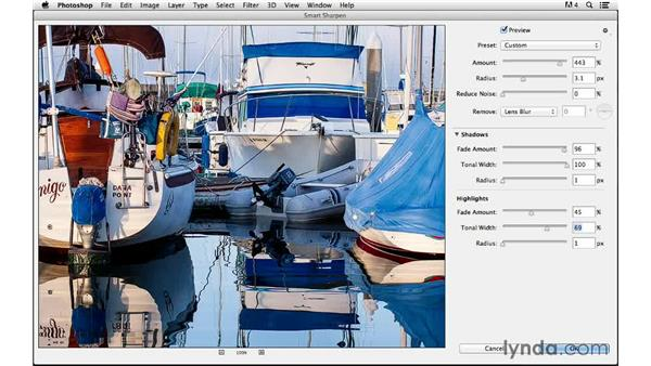 Fine-tuning Smart Sharpen with advanced controls: Photoshop CC for Photographers: Sharpening