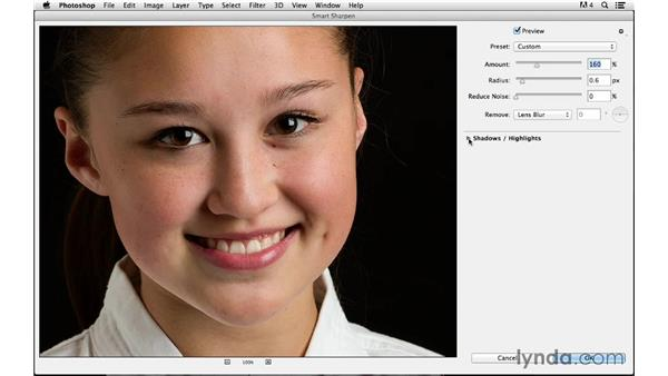 Applying blending modes to avoid color problems: Photoshop CC for Photographers: Sharpening