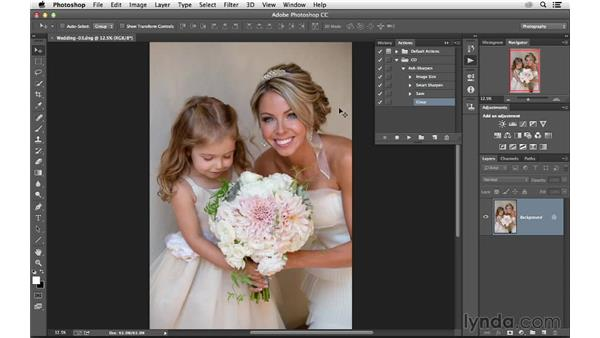 Playing the action for a single file: Photoshop CC for Photographers: Sharpening