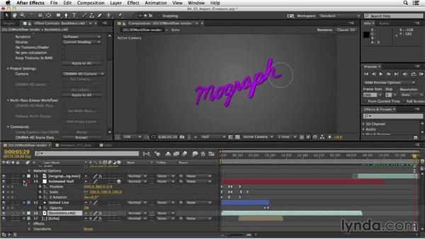Importing CINEWARE layers into After Effects: Mograph Techniques: Mixing 2D and 3D with After Effects and CINEMA 4D