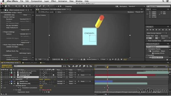 Using multipasses: Mograph Techniques: Mixing 2D and 3D with After Effects and CINEMA 4D