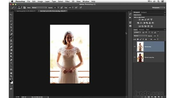 Combining two raw files into one Photoshop document: Portrait Project: Changing a Background for Dramatic Effect