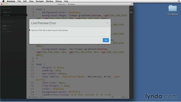 Exploring the interface: Adobe Edge Code and Brackets: First Look