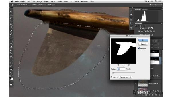 Using the Minimum filter to clean up edges: Portrait Project: Changing a Sky Background
