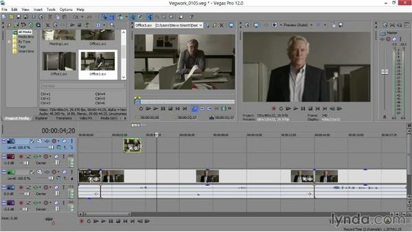 Using multiple tracks of video and audio to build a scene: Sony Vegas Production Workflow