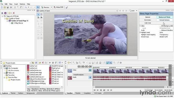 Customizing a menu page with a background and sound: Sony Vegas Production Workflow
